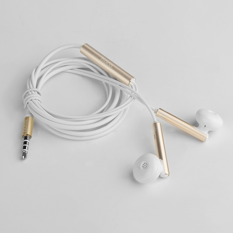 m26 zorun wire controllable earphone with mic gold folded