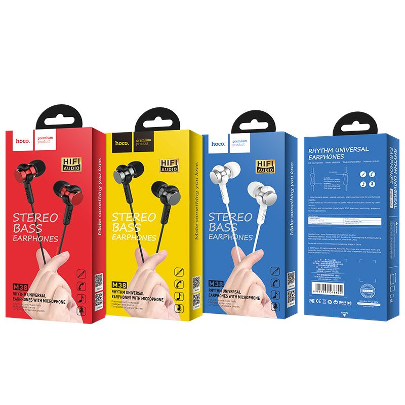 m38 rhythm universal earphones with microphone packages