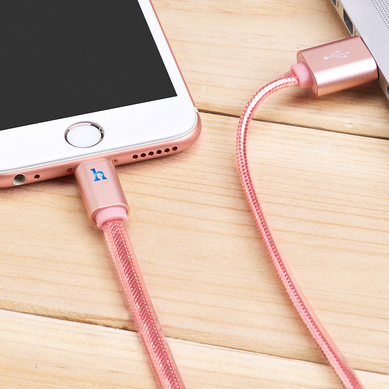 upl12 lightning metal jelly knitted cable charging rose gold