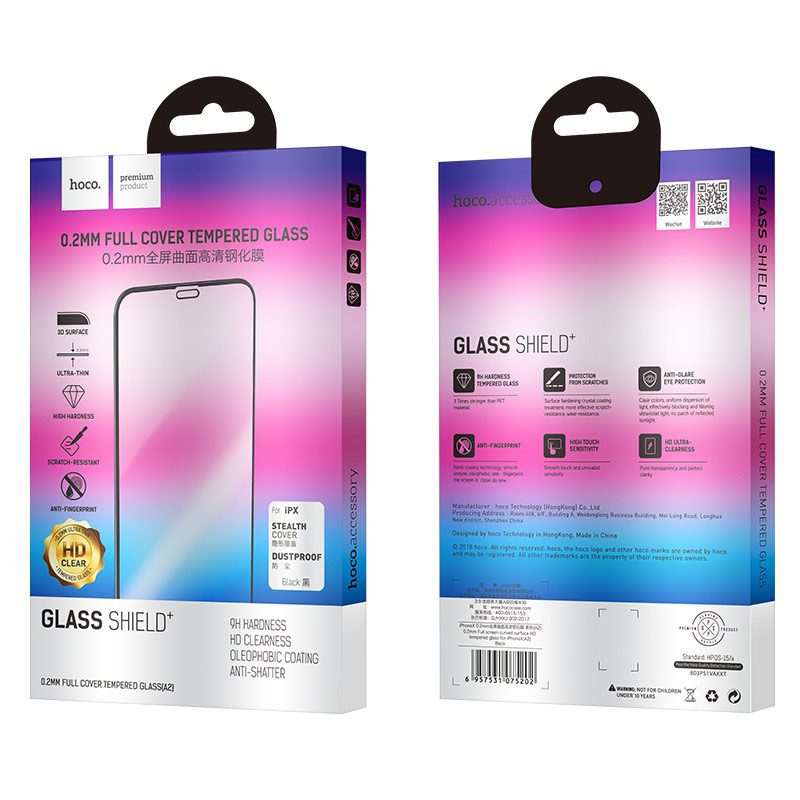 0.2mm full screen curved surface hd tempered glass a2 iphone x package