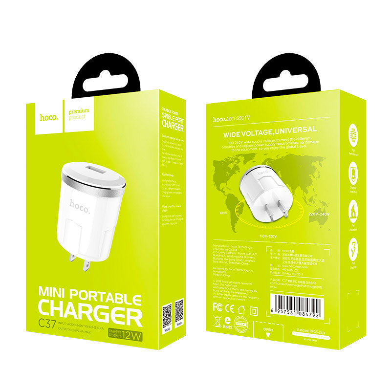 c37 thunder power single usb port us charger package