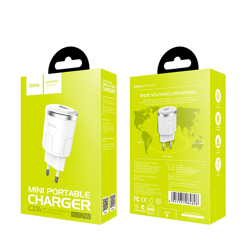 c37a thunder power single usb port eu charger package