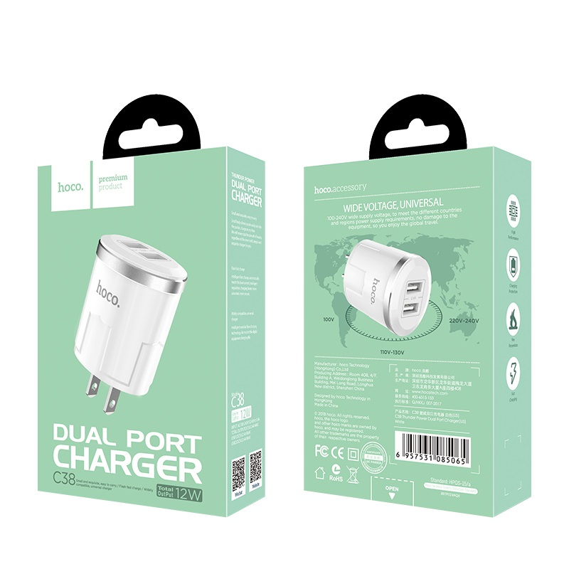 c38 thunder power dual usb port us charger package