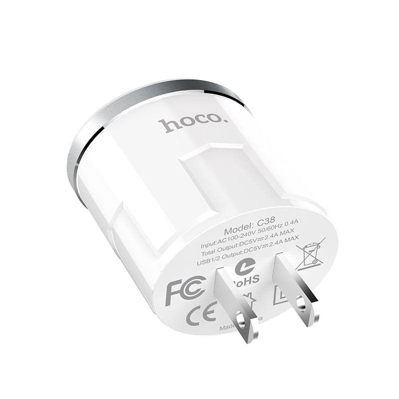 c38 thunder power dual usb port us charger specifications