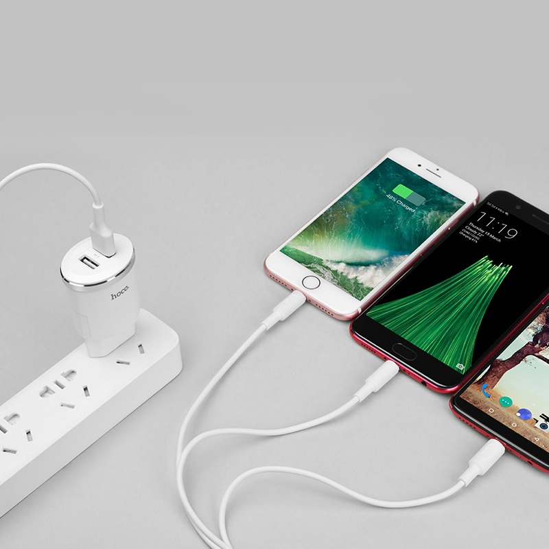 c38a thunder power dual usb port eu charger set with 3in1 cable connectors