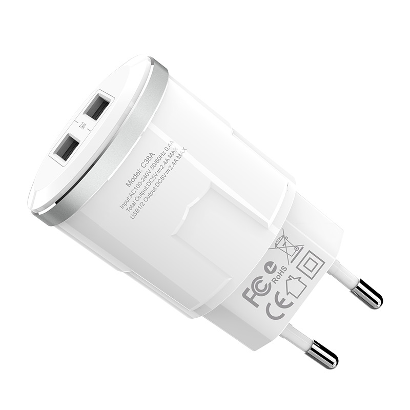 c38a thunder power dual usb port eu charger specification