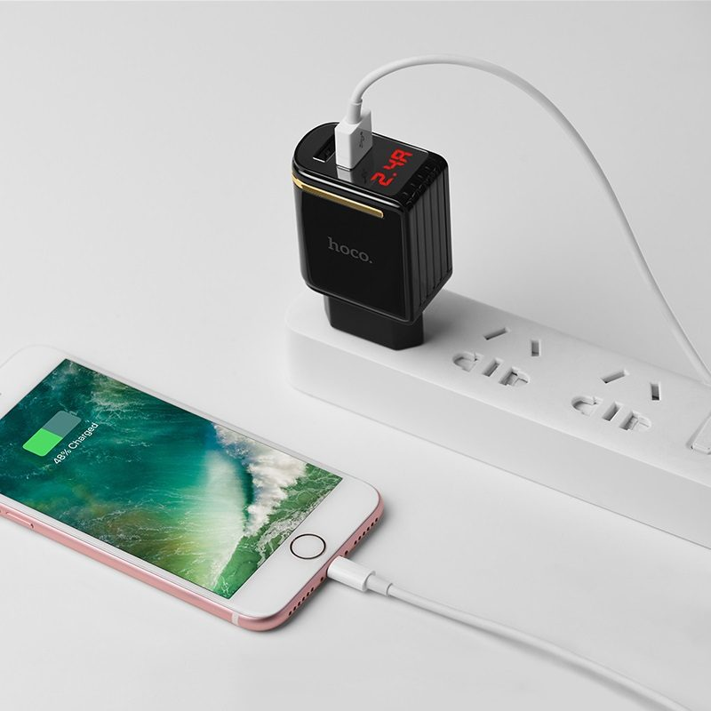 c39a enchanting dual usb port digital display eu charger phone
