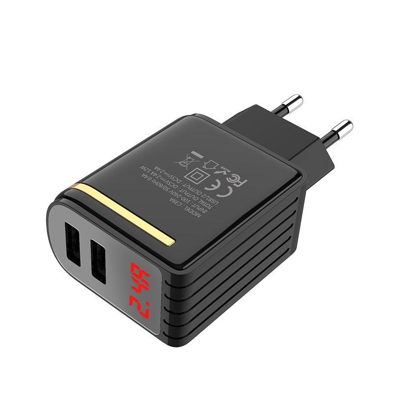 c39a enchanting dual usb port digital display eu charger ports