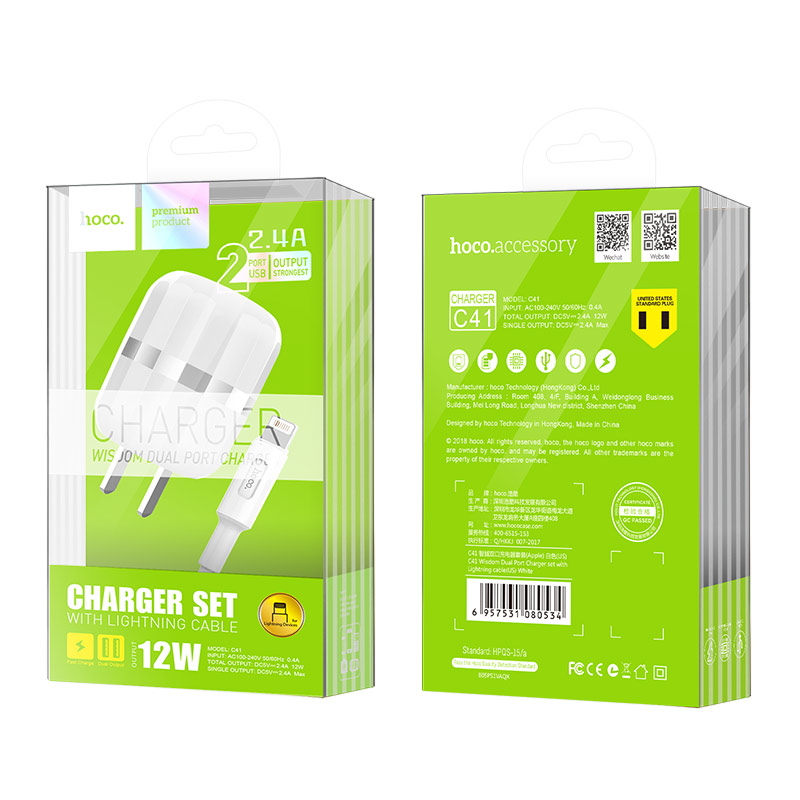 c41 wisdom dual port us charger set with lightning cable package
