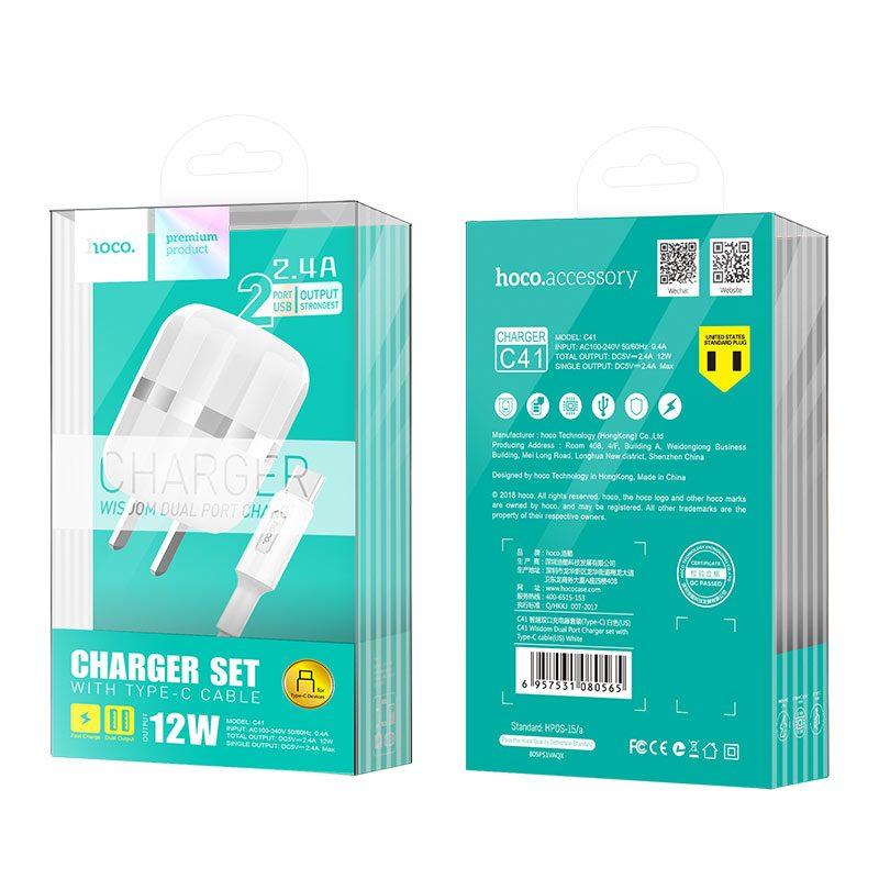 c41 wisdom зарядное устройство с двойным портом us с кабелем type c упаковка