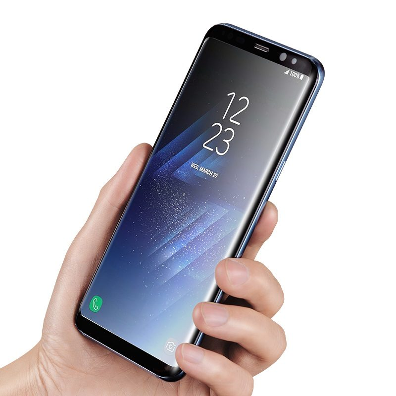 curved full screen protection tempered glass galaxy s8 s8 plus in hand