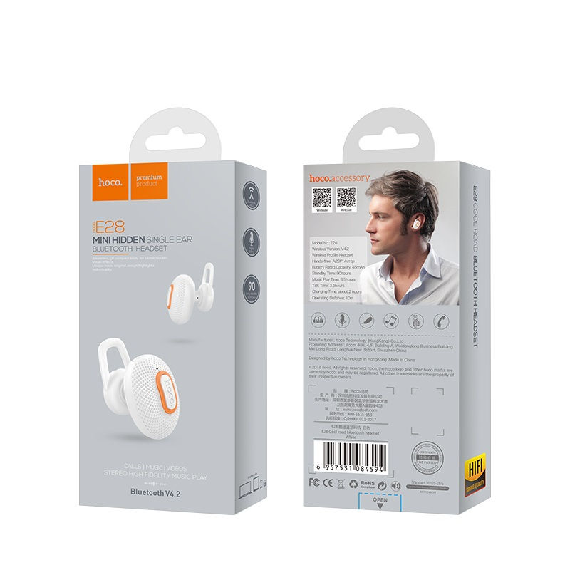 e28 cool road bluetooth headset package front back