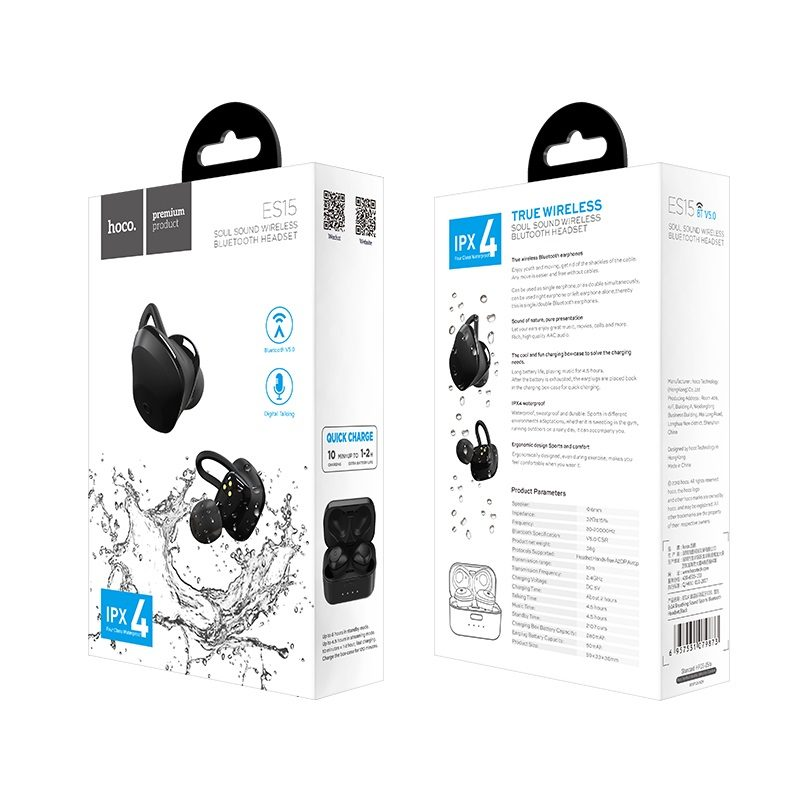 es15 soul sound wireless bluetooth headset package