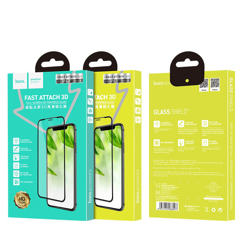 hoco fast attach 3d full screen hd a8 tempered glass for iphone 5.8 6.1 6.5 package