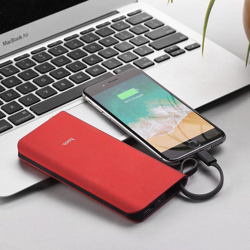 hoco j25 new power мобильный аккумулятор с кабелем lightning зарядное устройство