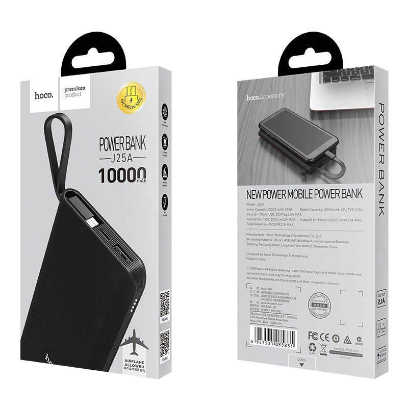 hoco j25a new power mobile power bank micro usb package