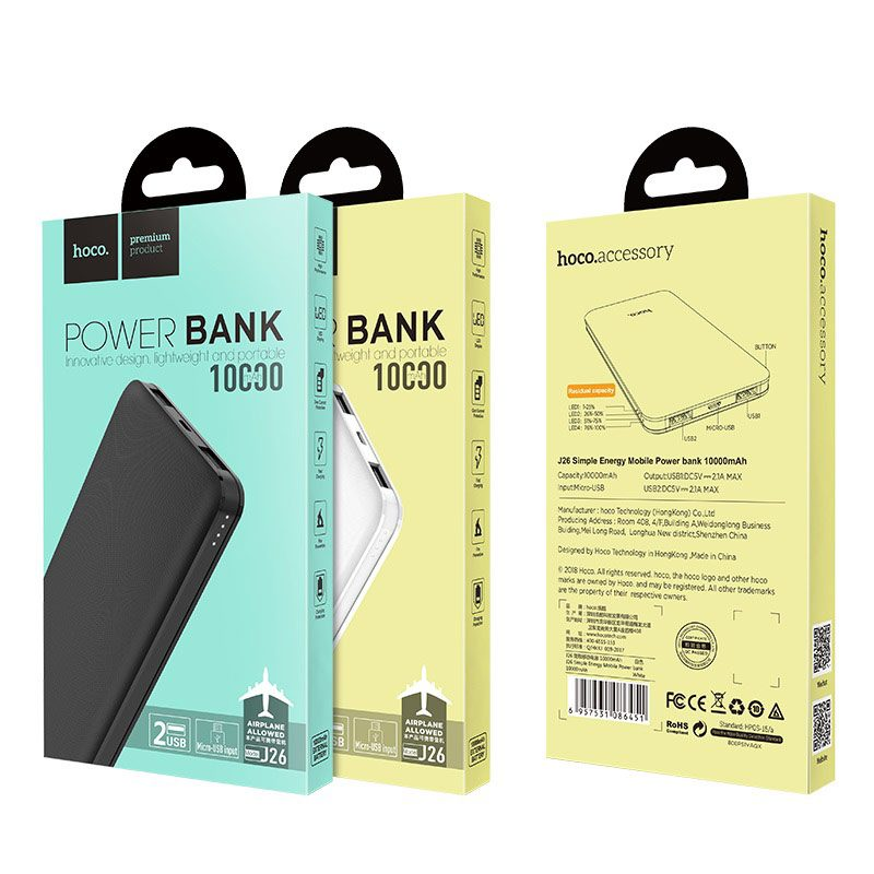 j26 simple energy 10000 mobile power bank package