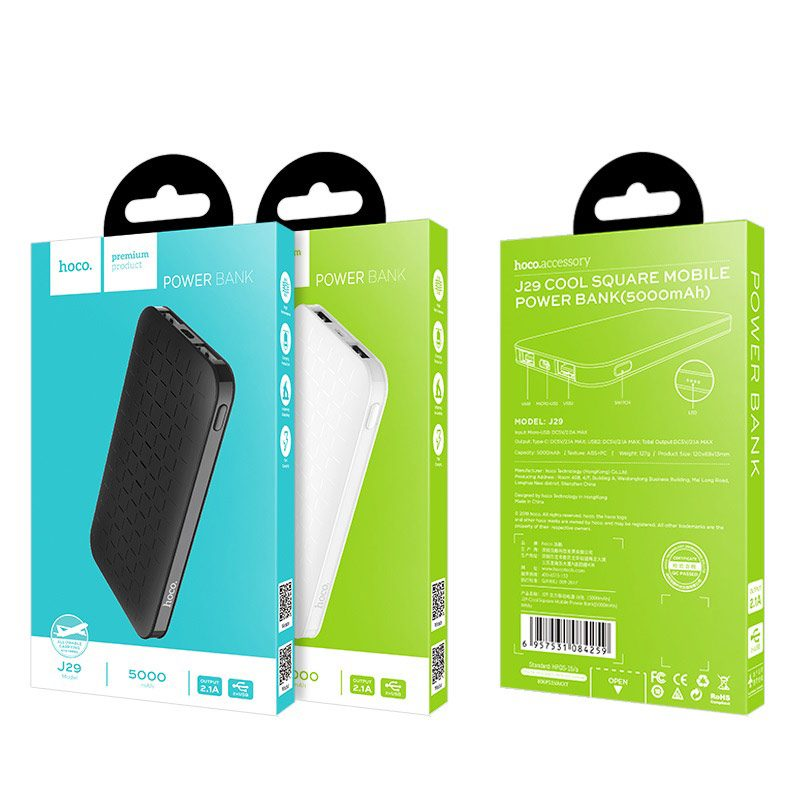 j29 cool square 5000 mobile power bank package