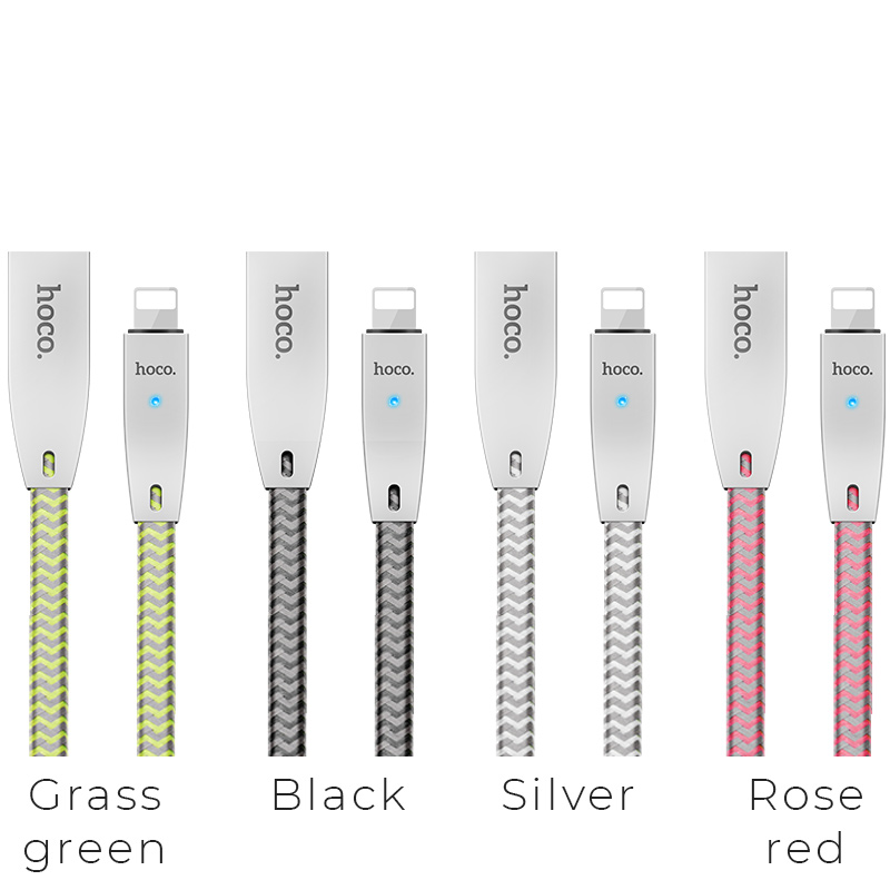 u11 zinc alloy reflective knitted lightning charging cable colors