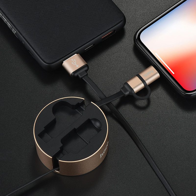 u23 2in1 resilient micro usb lightning charging cable interior