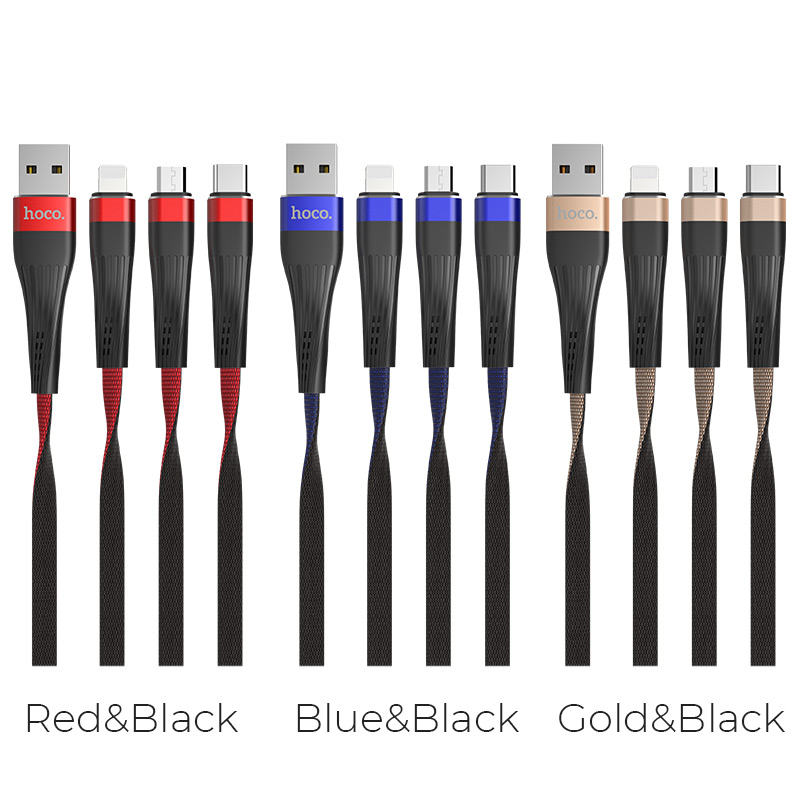 u39 slender 3in1 lightning micro usb type c charging cable colors