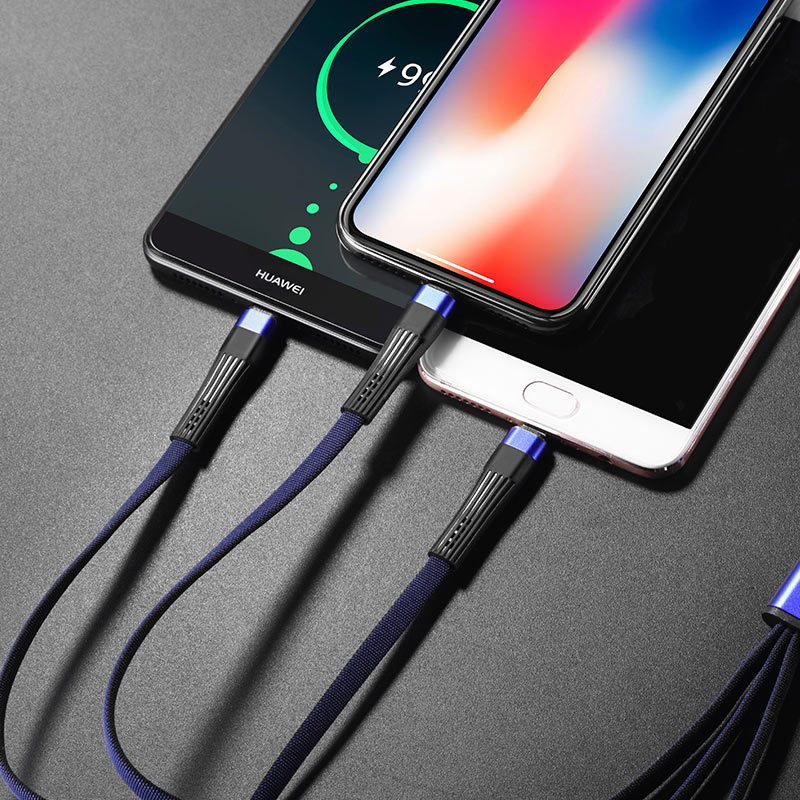 u39 slender 3in1 lightning micro usb type c charging cable interior blue black