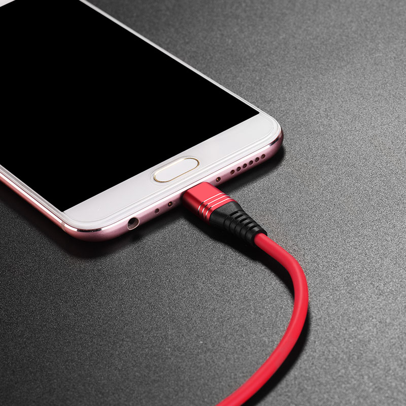 u46 tricyclic silicone micro usb charging data cable interior red
