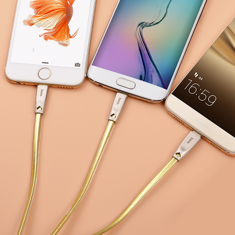 u9 3in1 zinc alloy jelly knitted charging cable interior gold