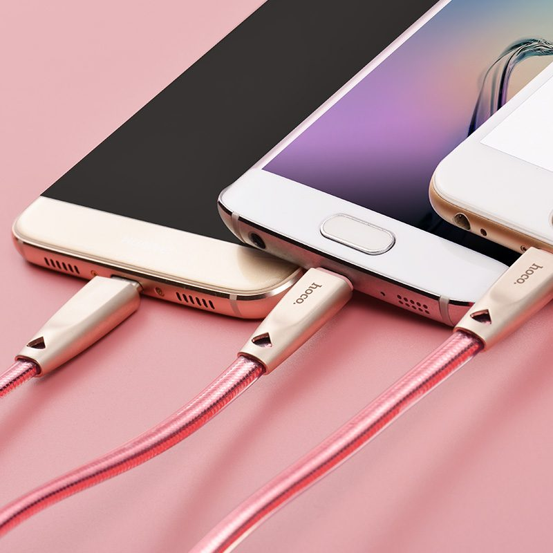 u9 3in1 zinc alloy jelly knitted charging cable triple charge rose gold
