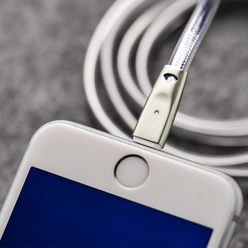 u9 zinc alloy jelly knitted lightning charging cable indicator