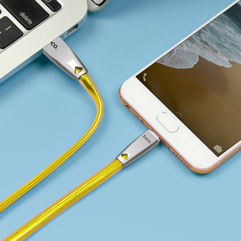 u9 zinc alloy jelly knitted micro usb charging cable interior gold