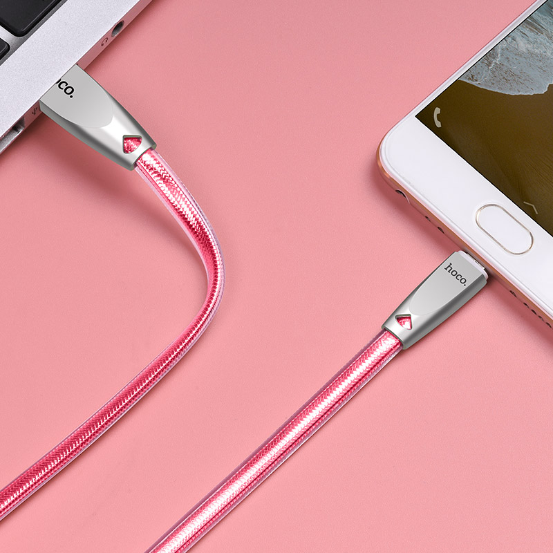u9 zinc alloy jelly knitted micro usb charging cable interior rose gold