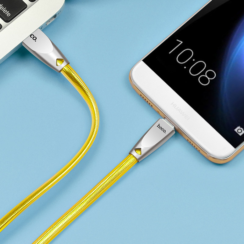 u9 zinc alloy jelly knitted type c charging cable charge gold