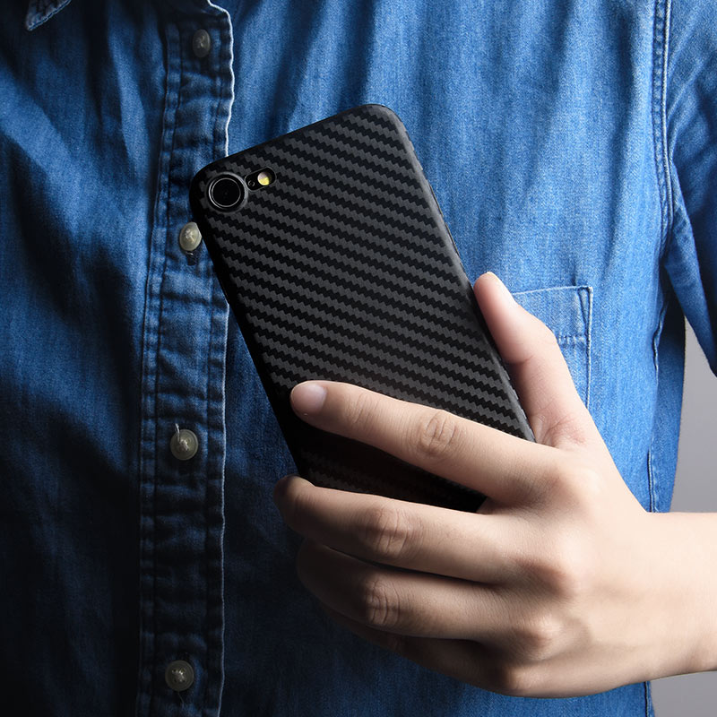 ultra thin carbon fiber case iphone 7 8 in hand