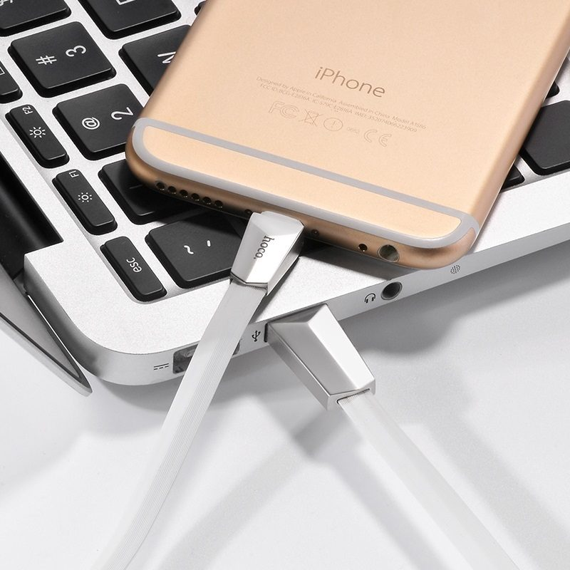 x4 lightning zinc alloy rhombus charging cable white view