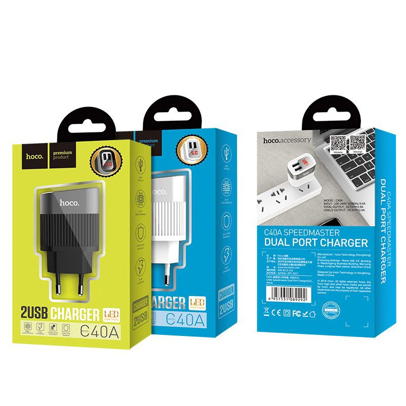 hoco c40a speedmaster dual usb port charger eu package
