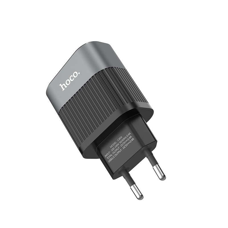 hoco c40a speedmaster dual usb port charger eu plug