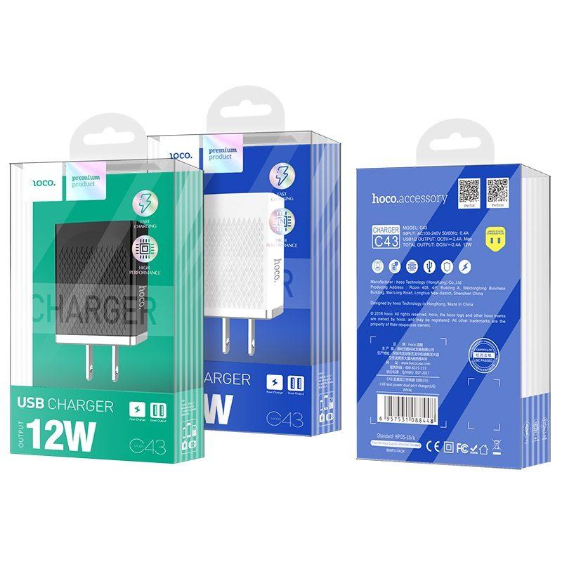 hoco c43 vast power зарядное устройство us с двумя портами упаковка