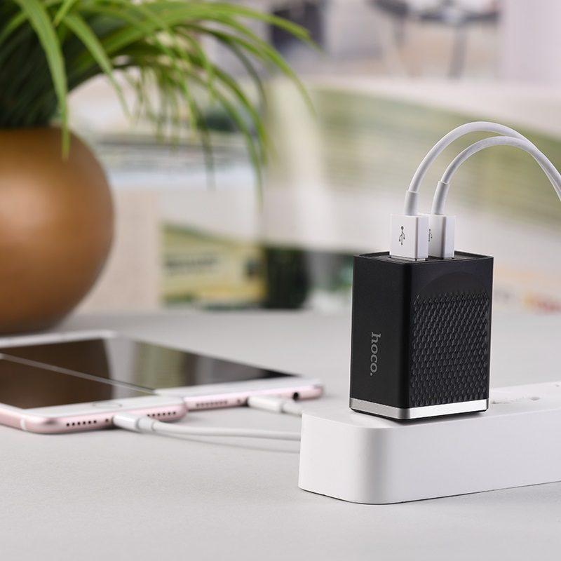 hoco c43 vast power зарядное устройство us с двумя портами телефон