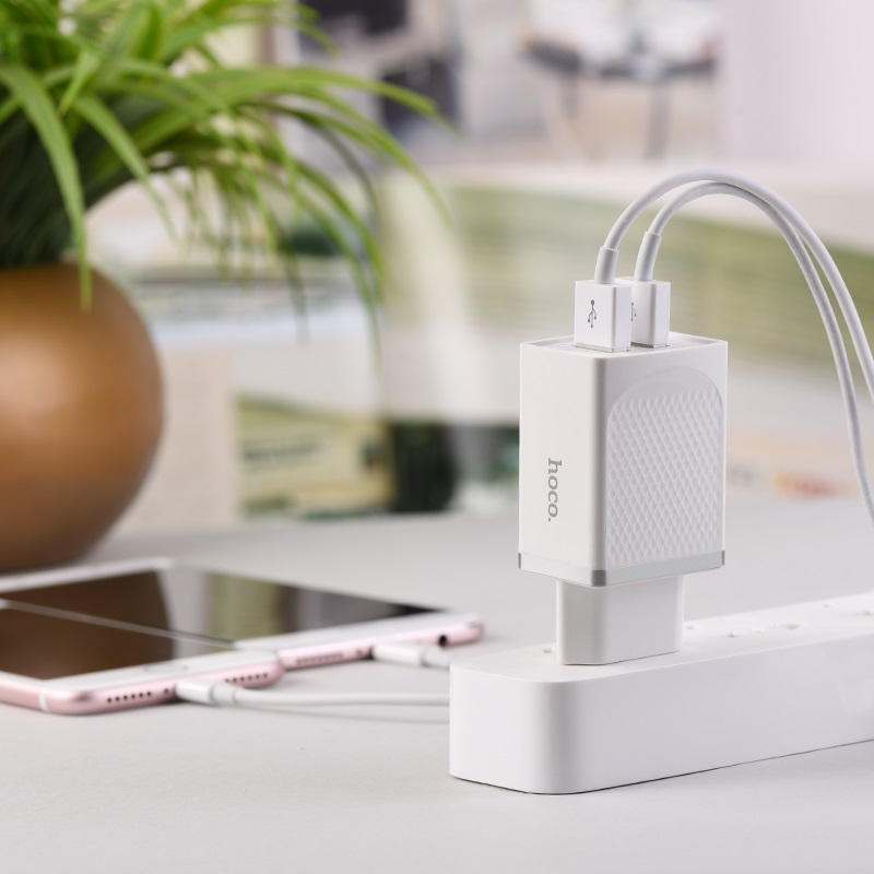 hoco c43a vast power dual port charger eu phone