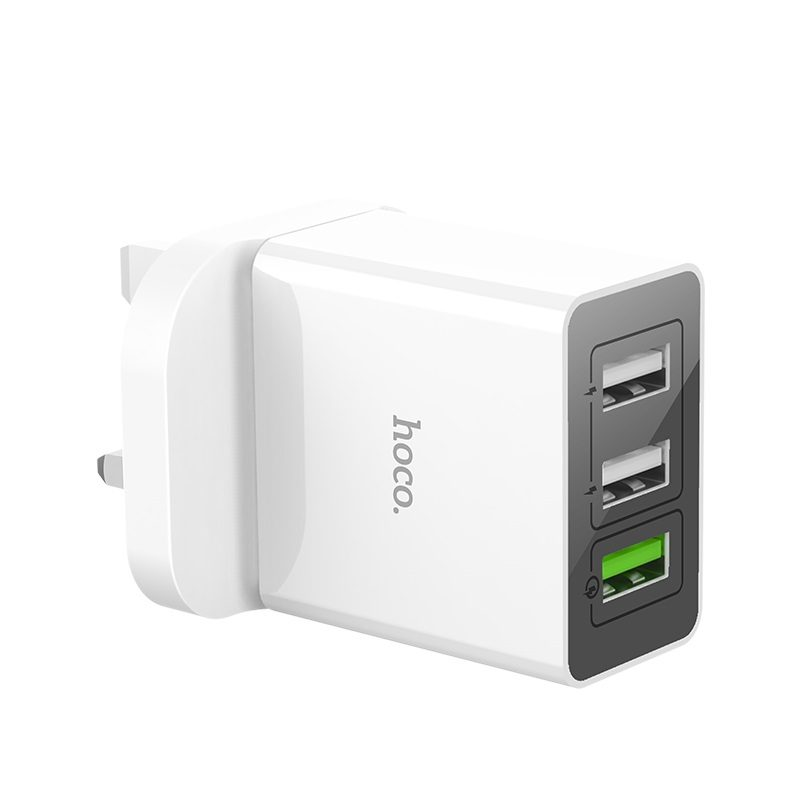 hoco c48 breakthrough qc 3.0 three usb ports charger adapter