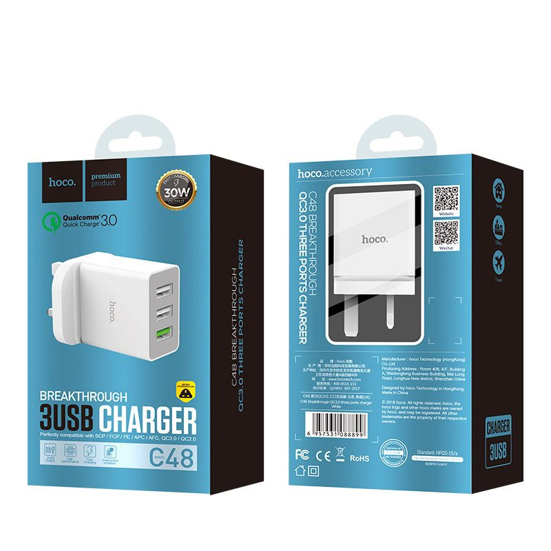 hoco c48 breakthrough qc 3.0 three usb ports charger package