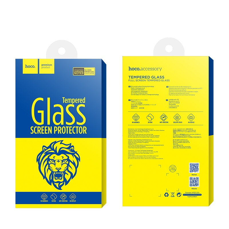 hoco full screen hd tempered glass for galaxy note 9 package