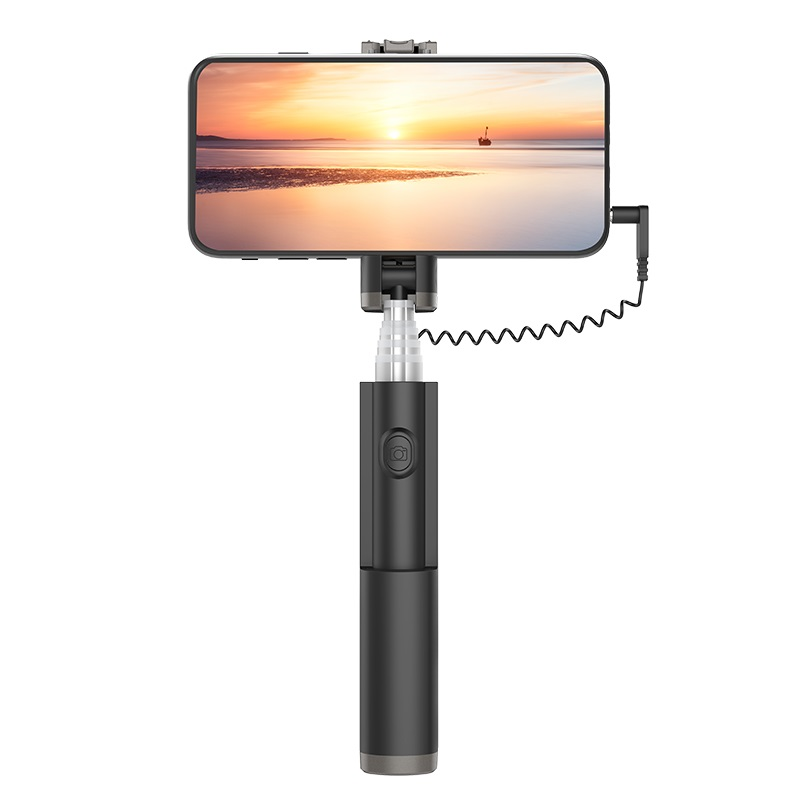 hoco k9 graceful mini wire control aluminum alloy selfie stick phone