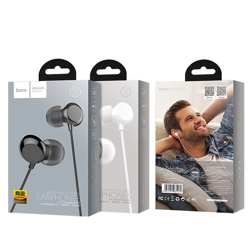 hoco m43 ceramic universal earphones with microphone package