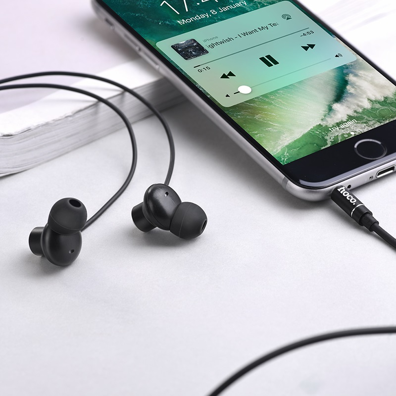 hoco m44 magic sound wired earphones with microphone interior black