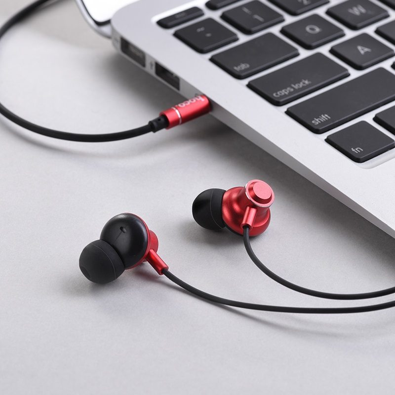 hoco m44 magic sound wired earphones with microphone interior red