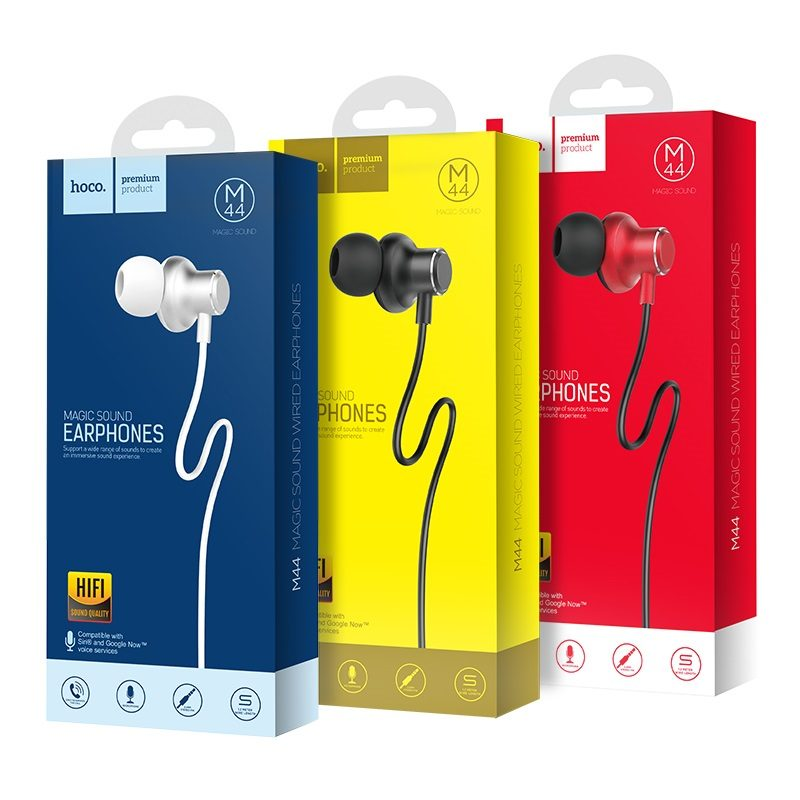 hoco m44 magic sound wired earphones with microphone packages