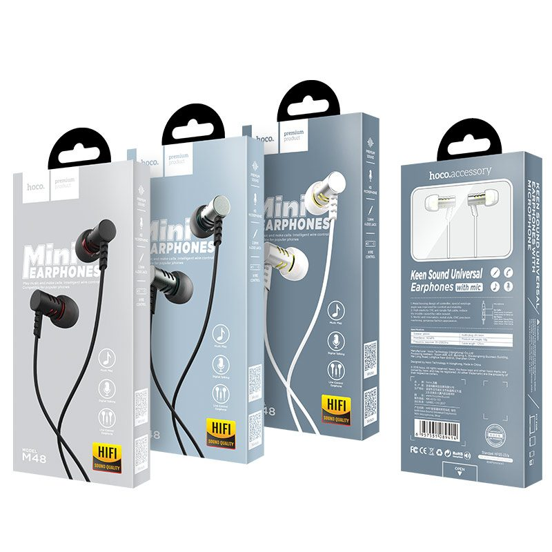 hoco m48 keen sound universal earphones with microphone package