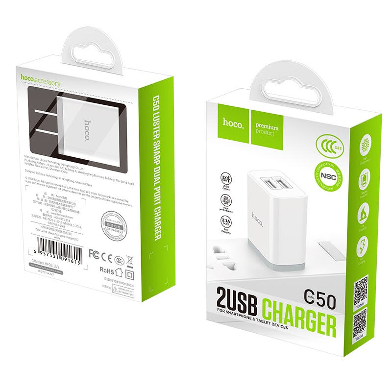 hoco c50 luster sharp dual port charger 3c package
